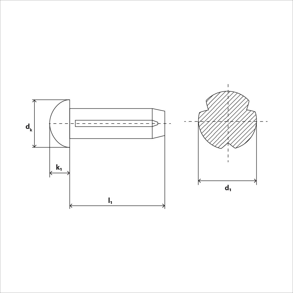 Halbrundkerbnägel mit Fase ISO 8746 Stahl blank Form A