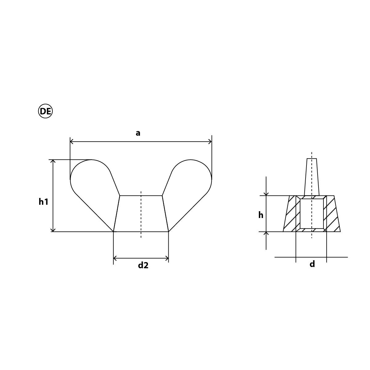 SC-Normteile Amerikanische Form // kantige Fl/ügel DIN 315 V2A - SC315 rostfreier Edelstahl A2 - /ähnl - M10 - 1 St/ück Fl/ügelmutter